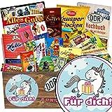 Für Dich (mit Einhorn) | Schokoladenkorb | Geschenk Idee | Für Dich (mit Einhorn) | Schokolade Paket | mit Rumkugeln Böhme, Mokka Bohnen und mehr | inkl. DDR Kochbuch