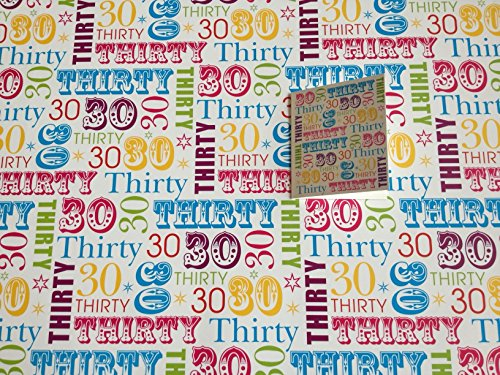 30th Birthday Wrapping Paper Gift Wrap, 2 Sheets, 1 Tag 30 -white
