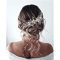 Unicra - Accessorio per capelli da sposa con fiore di vite, per donne e ragazze (Argento)