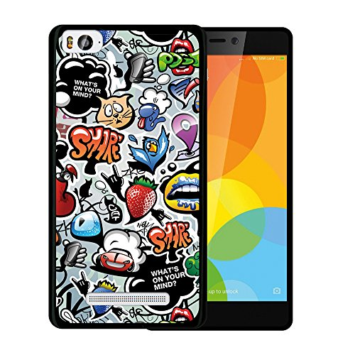Xiaomi Mi 4c Hülle, WoowCase Handyhülle Silikon für [ Xiaomi Mi 4c ] Coloriertes Graffiti Handytasche Handy Cover Case Schutzhülle Flexible TPU - Schwarz