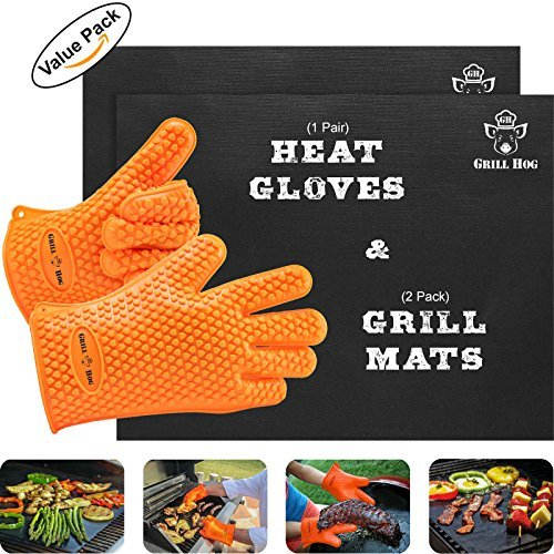 GRILL HOG Geschenk-Set für den Grill – Anti-Haft Silikon Handschuhe und Teflon-Matten