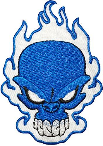 Indische Kostüm Authentische - Papapatch Bügelbild mit blauer Feuerflamme brennender Totenkopf, Gespenst, Skelett, Biker, Chopper, Jacke, Weste, Kostüm, zum Aufnähen, bestickt, Weiß (Eisen-Blau)