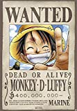 Póster One Piece 'Wanted Dead or Alive Monkey D. Luffy' (68cm x 98cm) + embalaje para regalo