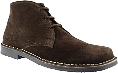 Roamer Men's 3 Eye Square Toe Suede Leather Desert Boots