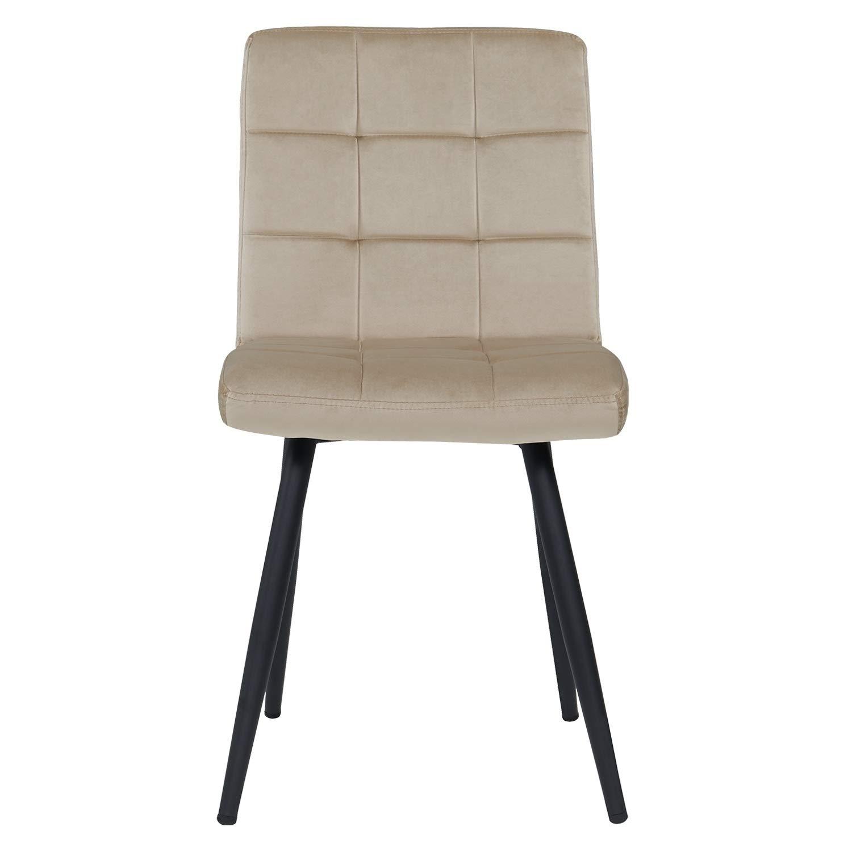 Duhome 2er Set Esszimmerstuhl aus Stoff Samt Creme Beige Farbauswahl Stuhl Retro Design Polsterstuhl mit Rückenlehne Metallbeine 8043B 2