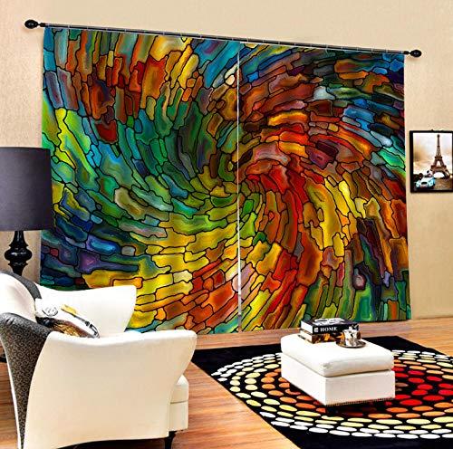 Wegji Full Blackout Vorhangstoff 3D Abstrakte Vorhang Wohnzimmer Schlafzimmer Studie Dekoration Vorhang 166X150Cm -