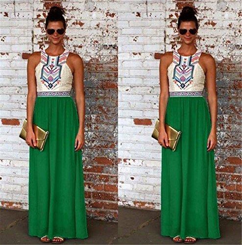 YOGLY Fashion Damen Sommerkleid Lang Casual Ärmellos Strandkleid Minikleid Urlaub Kleid Cocktaikleid Grün
