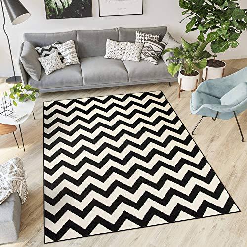 Schwarz Und Weiß Moderne Teppich (Tapiso Dream Teppich Wohnzimmer Modern Kurzflor Weiß Schwarz Geometrisch Zig Zag Streifen Gestreift Schlafzimmer ÖKOTEX 160 x 220 cm)