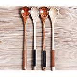K&C de mango largo cuchara cucharas de cocina de madera de mezcla de madera de olivo italiano 4 Lote