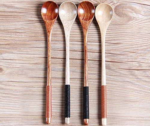 K&C long manche cuillère de cuisson en bois mélangeant italiennes cuillères en bois d'olivier Lot de 4