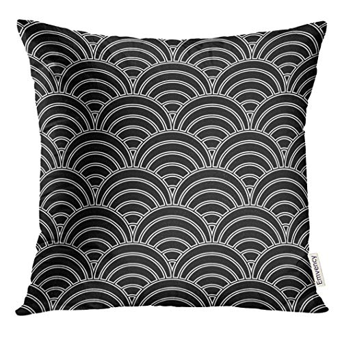 Throw Pillow Cover Fish Scale Asian Traditional with Repeated Scallops White Curves on Black Pattern Design Semicircles Grid Decorative Pillow Case Home Decor Square 18x18 Inches Pillowcase