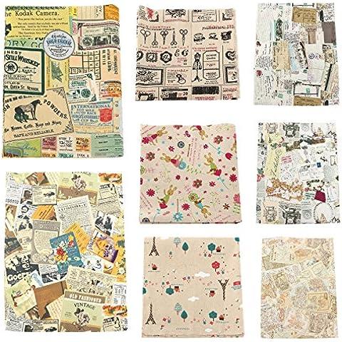 Vintage Series Mapa Bills de lino del algod—n de la tela del remiendo para DIY Tabla de cama cortina