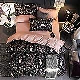 Bettbezug Set, Hof Luxus 3 Stück Super Weiche und Angenehme Mikrofaser Einfache Bettwäsche Gemütlich Enthalten & Kissenbezug Betten Schlafzimmer
