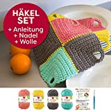 myboshi Häkel-Set 2 Topflappen Toshima je 20x20cm Häkelanleitung + 4 x 50g Wolle + selfmade Label Wollfarben: (löwenzahn, titangrau, meerblau, rouge, mit Häkelnadel)
