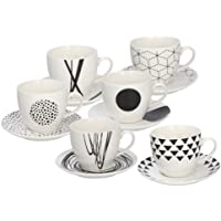 Tognana Graphic Lot de 6 tasses à café avec soucoupe assortie, 80 cm³, hauteur 6 cm, blanc et noir