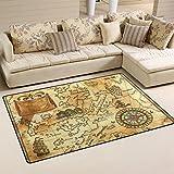 coosun Old Pirat Karte mit Wind Rose Bereich Teppich Teppich rutschfeste Fußmatte Fußmatten für Wohnzimmer Schlafzimmer 152,4x 99,1cm, Textil, multi, 60 x 39 inch