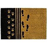 Paillasson en fibre de coco rugueuses Get Goods, caoutchouc noir antidérapant à...