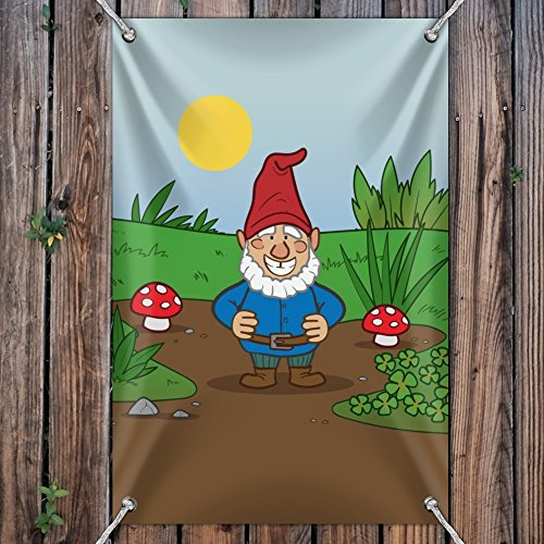 Garden-Gnome-with-Toadstools-Home-Business-Office-Sign-Vinyl-Banner-22-x-33-56cm-x-84cm