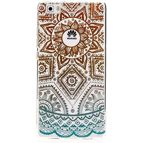 delightable24 Cover Case in Silicone TPU per Smartphone HUAWEI P8 LITE - Mandala Turchese Verde