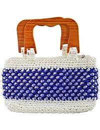 Maitreyee Enterprise Women's Handbag (Blue And White)
