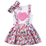 Ropa Bebe Niña Recien Nacido Verano 0 a 3 6 12 18 24 Meses - 3PC/Conjunto - Rosa Forma de Corazon Camiseta sin Mangas + Panta