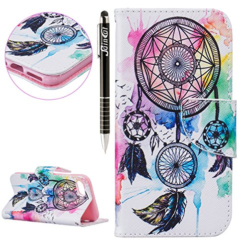 SainCat Apple iPhone 7 Custodia in Pelle,Anti-Scratch Protettiva Corpertura Caso Custodia Per iPhone 7,Elegante Creativa Dipinto Pattern Design PU Leather Flip Ultra Slim Sottile Morbida Portafoglio W mulino a vento