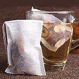 ilauke 100tlg. Teebeutel feine Teefilter Selbstbefüllbar Einweg Teabag 70mm X 90mm für Tee Obsttee Teeblumen Gewürz Kräuterpulver in Teekanne Tasse und viele weitere Möglichkeiten teebeutel selber machen Teebeutel selber machen