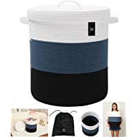 Textile and Beyond storage organizer Foldable pure cotton big size woven rope laundry basket with lid cloth storage baby…