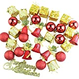 Tatis Zuhause Dekoration Weihnachtsbaum Ornament Anhänger Party Supplies Baum hängen Christbaumschmuck (32 Packungen) Gold + Rot