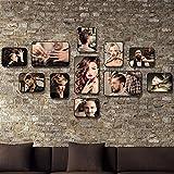 Dekorrahmen Retro friseursalon Stil Bilderrahmen Sets, Wohnzimmer Bilderrahmen Wand Kreative Kombination Sofa Hintergrund Frames Sets Von 11 ( Farbe : E , größe : 11frames/130*75CM )