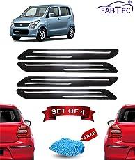 Fabtec Rubber Car Bumper Protector Guard with Double Chrome Strip for Car 4Pcs - Black (Maruti Wagonr)
