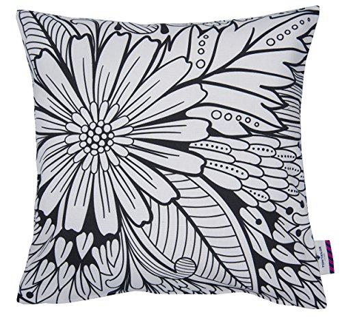 TOM TAILOR T-Black Flowers Kissenhülle, Baumwolle, Weiß/schwarz, 40 x 40 x 0.05 cm