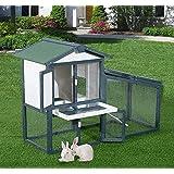 Pawhut - Gabbia per Conigli Animali in Lengo di Abete Doppia Porta 140 x 65 x 100cm Verde e Bianco