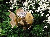Fisch Keramik Camena grün, weiß, sand, Größe: ca 25 cm hoch, ca 27 cm lang. Eine Eisenstange kann aus versandtechnischen Gründen nicht mitgeliefert werden. (Sie ist in jedem Baumarkt erhältlich. Die Stange sollte 8 mm Durchmesser und mindestens 1 m Länge haben.)