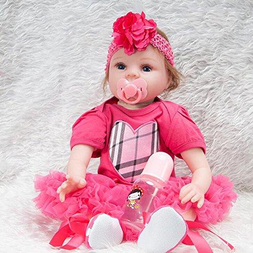 Realistische Reborn Baby Puppe Vinyl Silikon Tuch Körper Mädchen Junge Spielzeug Mohair mit Kleid 22 Zoll 55 cm HMYH