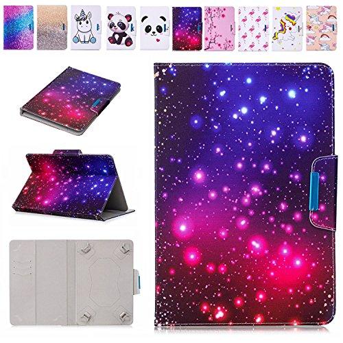 E-Mandala 10 Zoll Hülle Leder Flip Case Tablet PC Tasche mit Kartenfach Ledertasche Lederhülle - Star Marmor