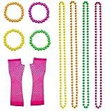 euhuton 10 Pcs Multicolour Neon Bead Necklaces Neon Bracelets and Long Fishnet Gloves Set for 80s Party