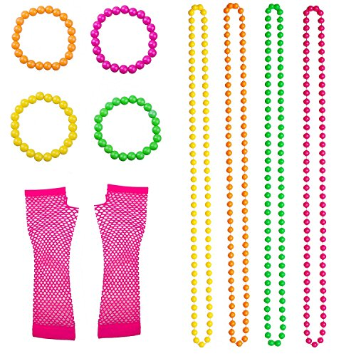10 pc Neon 80s Accessories Set for Ladies