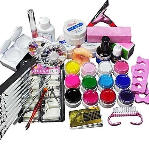Kapmore Equipo de Arte de Uñas Herramienta de Arte de Manicura 12 Colores Gel UV Polaco Uña Arte Cepillo...