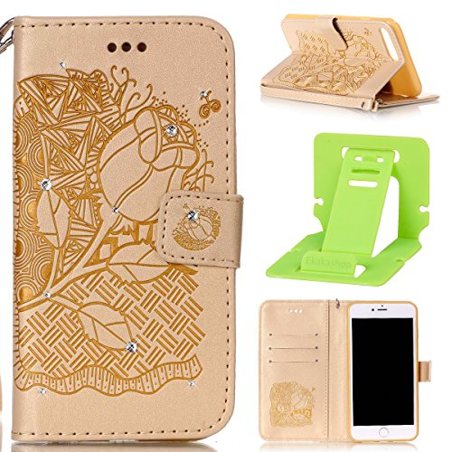 iPhone 7 Plus Coque Rabat,Housse iPhone 7 Plus Bling Bling,Ekakashop Jolie Brun Dreamcatcher Strass étoiles Paillettes Brillant Design Bookstyle Portefeuille à Fermeture Wallet Shell de Protection étu D'or Fleurs Riches