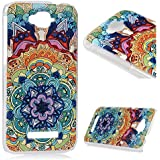 Alcatel One Touch Pop C7 Funda Cubierta - Lanveni Chic Elegante Carcasa Rigida PC ultra Slim para Alcatel One Touch Pop C7 Pintura Translúcido Protective Case Cover - Patrón Totem flor Diseño 5