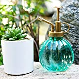 Crewell 350 ml Retro Kürbisform Glas Bewässerungstopf Pflanze Blume Flasche Garten Handdrucksprüher grün