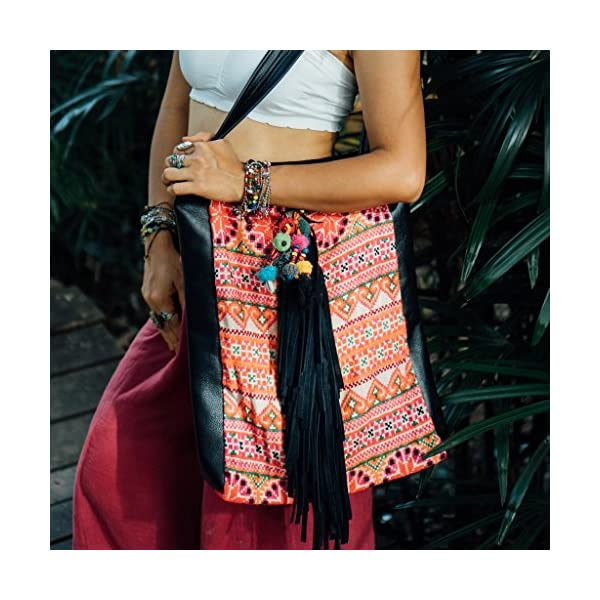 Changnoi Hancrafted Leather Shopping Bag with Fringe, Beach Women's Tote with Vintage Hmong Embroidered - handmade-bags