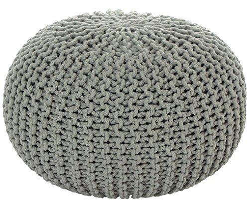 Sitzhocker Sitzpuff Bodenkissen Ø 50 cm, 55 cm oder 80 cm ver. Farben Baumwolle (Ø 55 cm, Hellgrau ( HG))