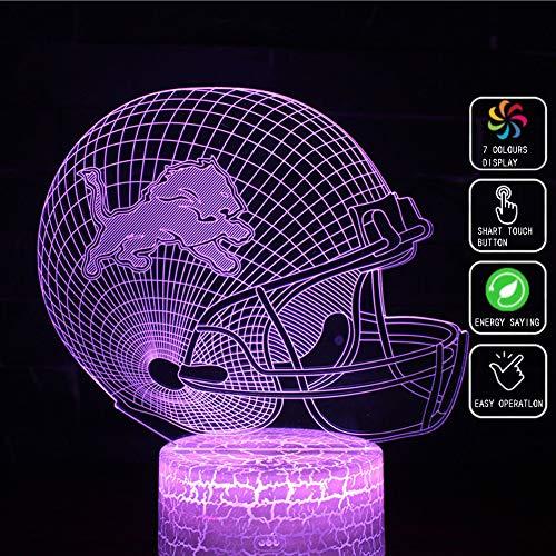 XLBAXLJ Detroit Lions Football 3D Acryl-Nachtlicht, 7 Farben-LED Noten-Schalter Ferntischlampe Raumdekoration Schlaf Licht für Rugby-Union-Team Fan -