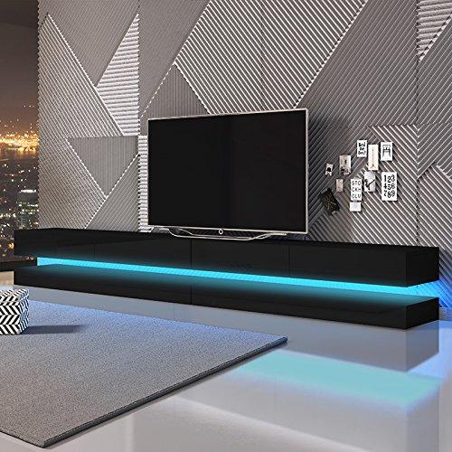 Aviator Double - Le Meuble TV Suspendu (280 cm, Noir Mat/Noir Brillant avec l'éclairage LED Bleue)