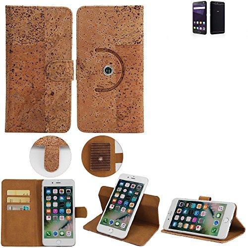 K-S-Trade Schutz Hülle für ZTE Blade V8 64 GB Handyhülle Kork Handy Tasche Korkhülle Handytasche Wallet Case Walletcase Schutzhülle Flip Cover Smartphone