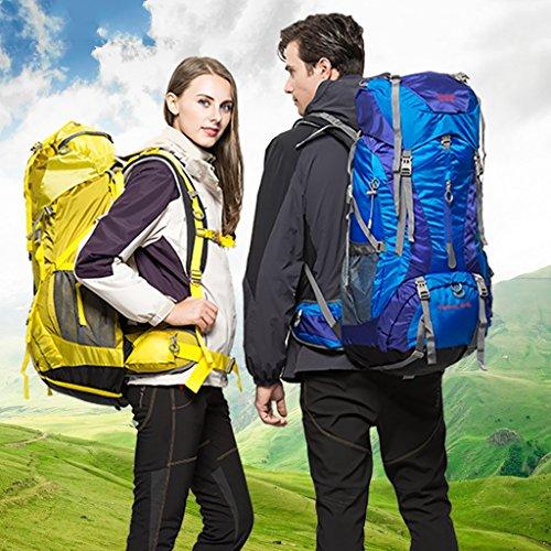 zaino trekking 65L grande capacità multifunzionale impermeabile Zaino Uomini E Donne Viaggi spalla Outdoor Alpinismo Bag Zaini da escursionismo ( Colore : 1 , dimensioni : 60+5L-75*35*25cm ) 6
