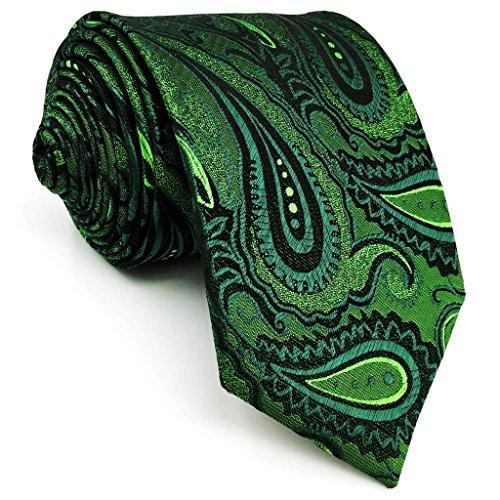 Shlax&Wing Herren Neu Klassisch Geschäftsanzug Seide Krawatte Grün Paisley