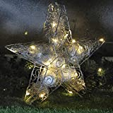 Gartenpirat Stern Zum Hinstellen Metall 35x8x35 cm Silbern 20 LED Deko Weihnachtsbeleuchtung